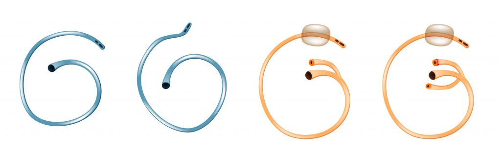 Different urinary catheters, including coude catheters, shown here.