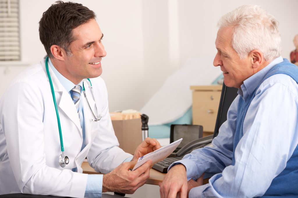 """Patient and doctor having a conversation. Asking """"Where can I buy catheters?"""" Active Life Medical can help."""